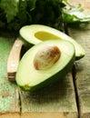 Ripe avocado cut in half Royalty Free Stock Photo