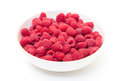 Ripe berry red raspberry bowl white background Royalty Free Stock Photo