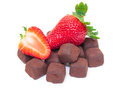 Ripe berry red strawberry chocolates white background Stock Photography