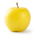 Ripe bright yellow apple on white background Stock Photo