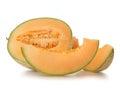 Ripe cantaloupe melon isolated on white background Stock Images