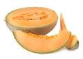 Ripe cantaloupe melon isolated on white background Stock Photo