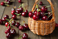 Ripe cherries in a basket fresh food Stock Images