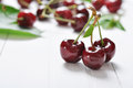 Ripe cherries fresh on wooden table closeup Royalty Free Stock Photo