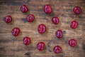 Ripe cherries on the old wooden background organic Royalty Free Stock Images