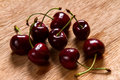 Ripe cherries red on wood Stock Photos