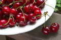 Ripe cherries on the table Royalty Free Stock Photo