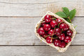 Ripe cherries on wooden table view from above with copy space Stock Image