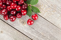 Ripe cherries on wooden table view from above with copy space Stock Images