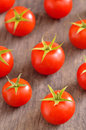 Ripe cherry tomatoes on old wood Royalty Free Stock Photography