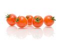Ripe cherry tomatoes white background reflection close up horizontal photo Stock Image