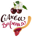 Ripe cherry and wooden spoon jam Royalty Free Stock Photo
