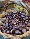 Ripe chestnuts in a wicker basket on a fruit market. Royalty Free Stock Photo