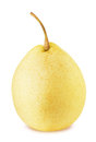 Ripe chinese pear with stem isolated Royalty Free Stock Photo