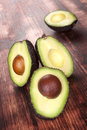 Ripe cut fresh avocados. Stock Images