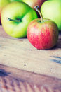 Ripe delicious apples on wooden table Stock Photography