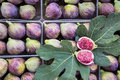 Ripe figs in boxes for sale in the greek market. Royalty Free Stock Photo