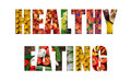 Ripe fruit and vegetables inside text on white backround colorful Stock Photo