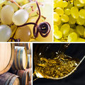 Ripe grapes and white wine saved clipping path Stock Photography