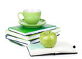Ripe green apple coffee cup office supplies isolated white background Royalty Free Stock Photo