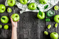 Ripe green apples dark wooden table background top view space for text