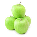 Ripe green apples over the white background Stock Photos