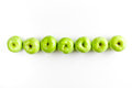 Ripe green apples white table background top view space for text