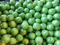Ripe green sour plums, mouth watering sour plums, cherry-plum. Fruit, vitamins.  Summer healthy food Royalty Free Stock Photo