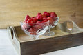 Ripe juicy berries red strawberry in a glass vase Stock Photos