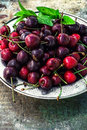 Ripe large cherries in the iron bowl iron Royalty Free Stock Photo