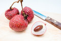 Ripe lychees fresh bunch on a plate close up Royalty Free Stock Image