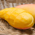Ripe mango in the basket Stock Photos