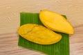 Ripe mangoes on bananaleaf stock photo Royalty Free Stock Photo