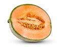 Ripe melon cantaloupe fresh juicy slice isolated on white background Stock Photo