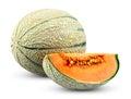 Ripe melon cantaloupe slice isolated on white background fresh juicy Stock Photography