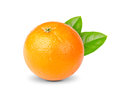 Ripe orange with green leaves on a mini white background Royalty Free Stock Photography