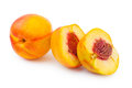 Ripe peach fruit isolated on white background Stock Image