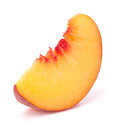 Ripe peach fruit slice isolated on white background cutout Royalty Free Stock Photo