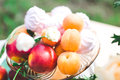 Ripe peaches in in a glass Royalty Free Stock Photo