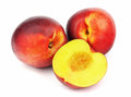 Ripe peaches isolated on white background Stock Photo