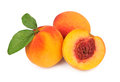 Ripe peaches white background Stock Photo