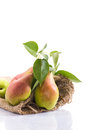 Ripe pears in a bag on white background Royalty Free Stock Photo