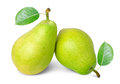 Ripe pears with leafs on white background Stock Photo