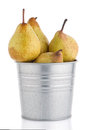 Ripe pears on metal buket Royalty Free Stock Photo