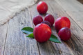 Ripe plums and nectarines on a wooden table Royalty Free Stock Photo
