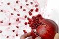 Ripe pomegranate fruit bursting close up Royalty Free Stock Photography