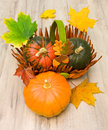 Ripe pumpkins and autumn maple leaves close up vertical photo Stock Image