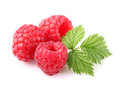 Ripe raspberry with leaf on a white background Royalty Free Stock Photography