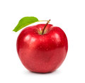 Ripe red Apple with green leaf Royalty Free Stock Photo
