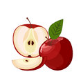 Ripe red apple with leaf slice isolated . Royalty Free Stock Photo